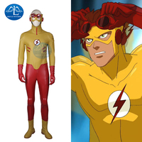 MANLUYUNXIAO 2017 New Arrival Young Justice Kid Flash Costume Men's Outfit Halloween Cosplay Costumes for Men Custom Made
