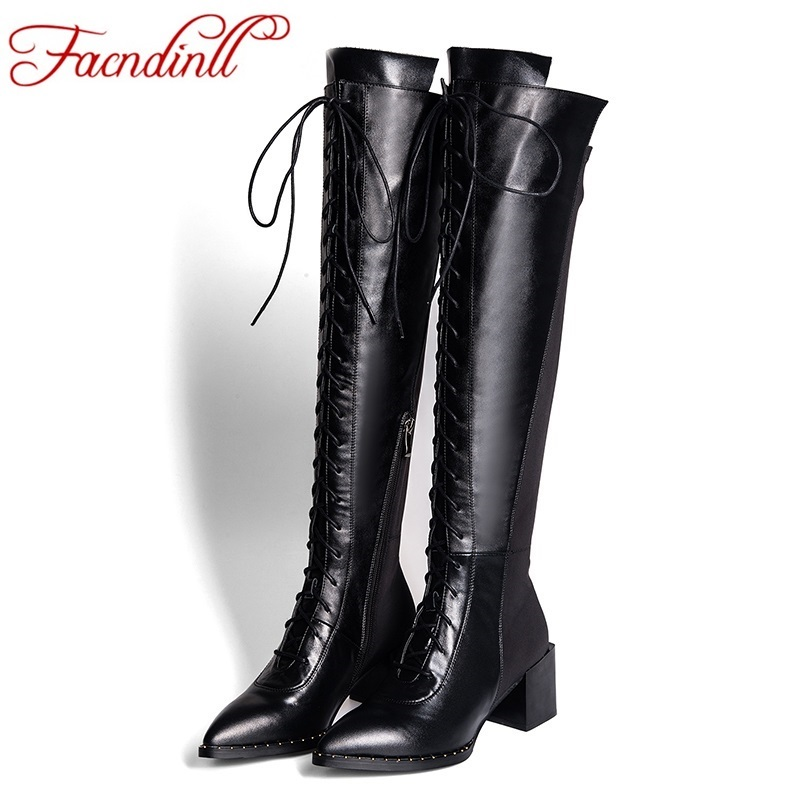 FACNDINLL fashion lace-up pointed toe high heels platform women knee high boots autumn shoes woman long boots women riding boots new women dress shoes knee high boots woman round toe high heels autumn winter long boot hot fashion riding boots big size 35 43