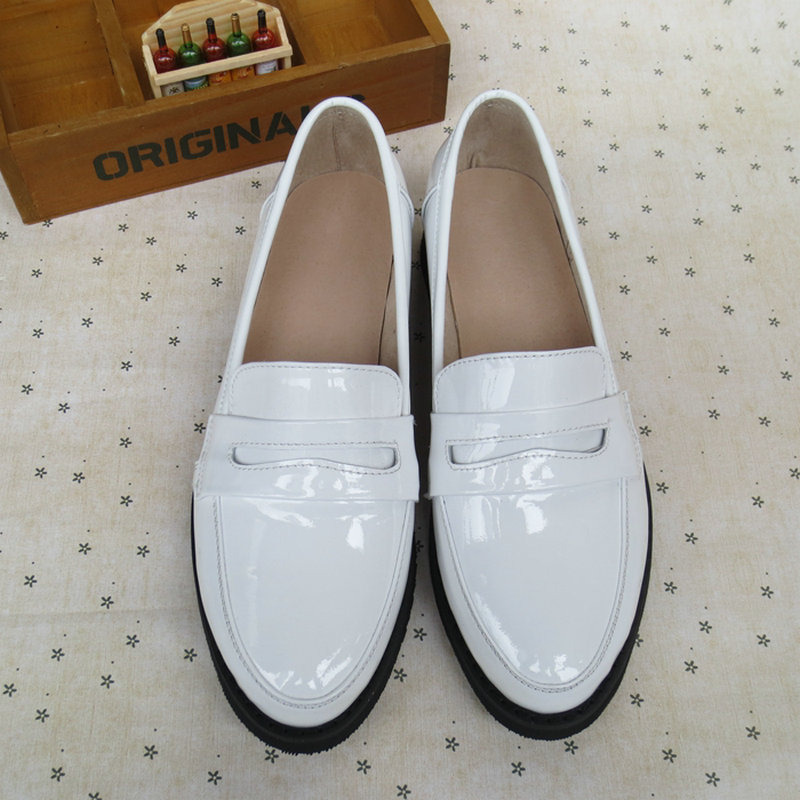 Fashion Handmade Sewing Shoes Patent Leather Set Foot Casual Loafers Shallow Mouth Hotsales Large Yard Black