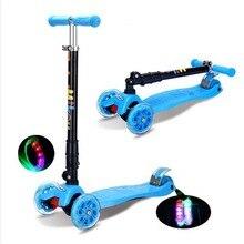 Kids 4 PU wheel Adjustable Height Mini Kick Scooter with LED Light Up PU Wheels