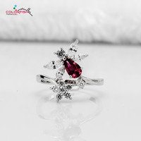 COLORFISH Solid 925 Silver Ring For Women Cubic Zircon Jewelry For Women Anniversary Engagement Wedding Party Red Ring Fashion