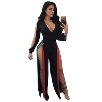 Hot sexy deep v-neck patchwork women long sleeve jumpsuit 2017 new fashion side split hollow out loose long pant jumpsuits HD213