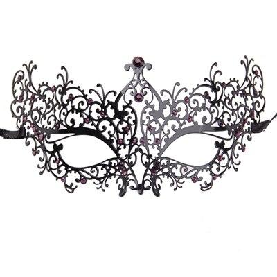 Удивительные маски венецианских маскарадов качества венецианские черные винтажные серебряные блестящие металлический лазерный разрез Вечерние Маски драгоценные камни - Цвет: BK metal purple gems
