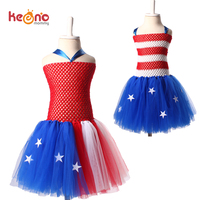 Keenomommy New Patriotic 4th Of July Girls Tutu Dress Stars And Stripes Baby Dress Holiday Kids