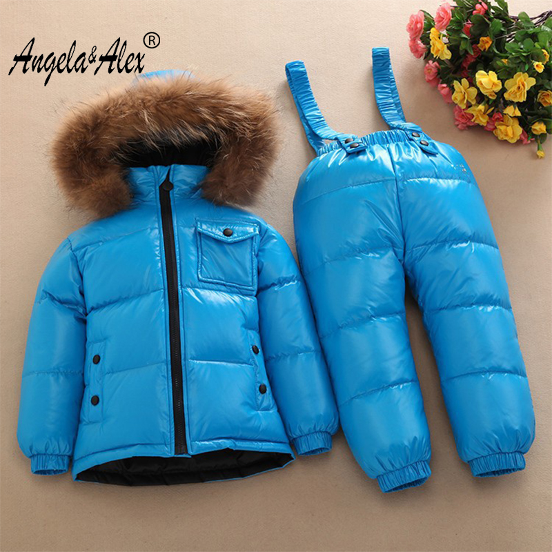Angela&Alex Winter Jacket Parka for Children -30 Degree Winter Kids Clothes Sets Warm Duck Down Coat Snowwear High Quality alex evenings new black jacket msrp $ 179