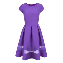 New Summer Women O-Neck Solid Big Swing Dress Cocktail Party Short Sleeve Dress S-XL