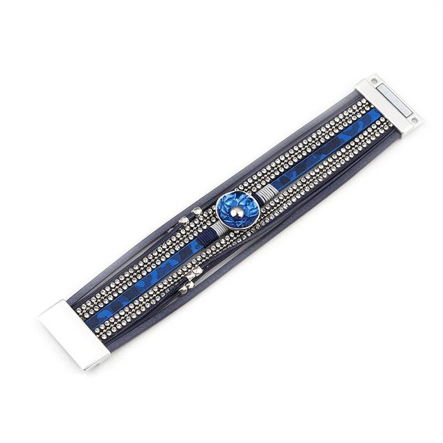 Multilayer Crystal Embellished Leather Bracelet for Women