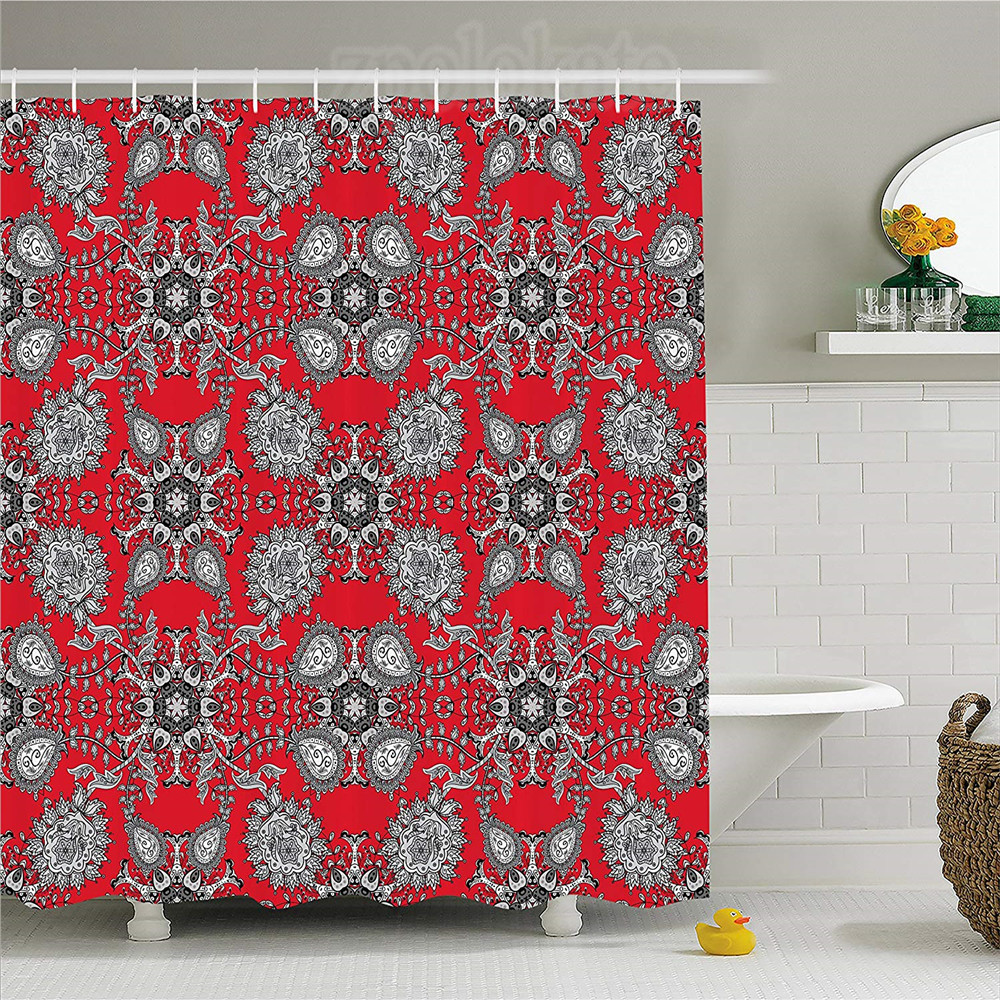 Home & Garden Floral Shower Curtain Classic Middle Eastern Flowers And Paisley Pattern Ottoman Nostalgic Bloom Design Fabric Bathroom Decor