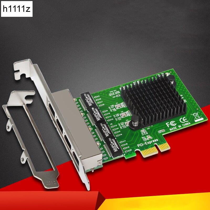 4-Port Gigabit Ethernet Network Card Server Adapter RJ45 Connector 10/100/1000Mbps PCI Express Network Card for Desktop Computer