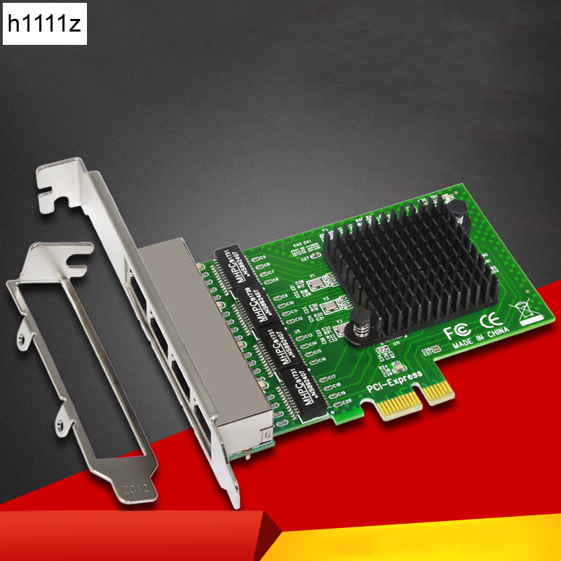 4-Port Gigabit Ethernet Network Card Server Adapter RJ45 Connector 10/100/1000Mbps PCI Express Network Card for Desktop Computer
