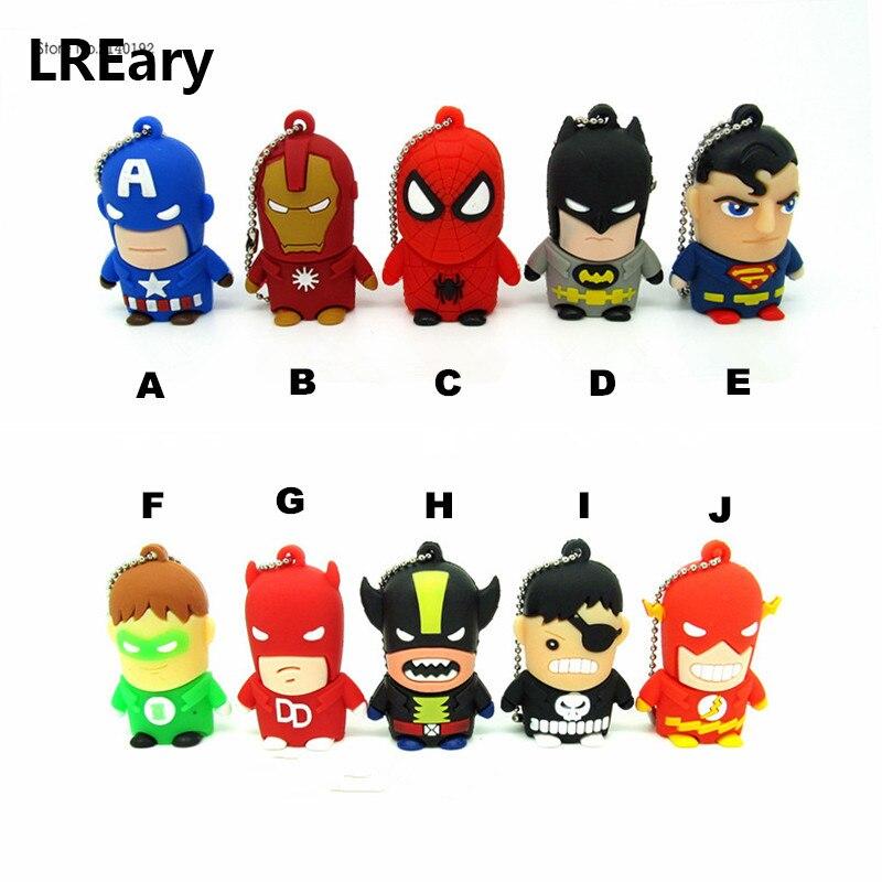 The Avengers USB Flash Drive Super Man Iron Man Batman Hero Pendrive 4GB/8GB/16GB/32GB Captain America Wolverine Pen Drive