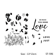 AZSG Rose Flowers Leaves/Love Clear Stamps/Seals For DIY Scrapbooking/Card Making/Album Decorative Silicone Stamp Crafts