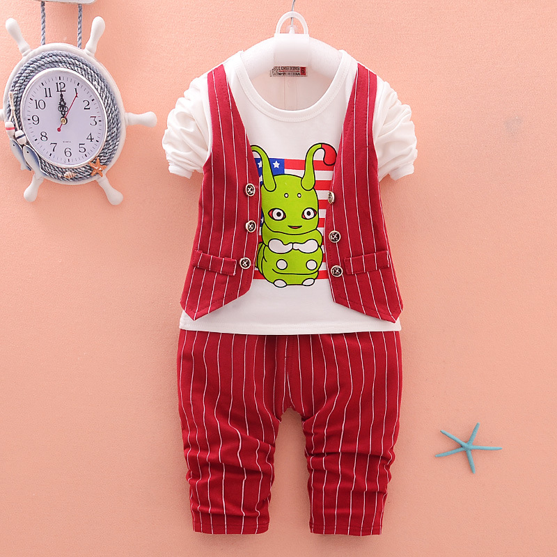 Boys Clothing Set Cartoon Print Waistcoat Cardigan Coat  + Pants Autumn Cotton Fashion Costumes Tracksuit Outfit Infant Kids
