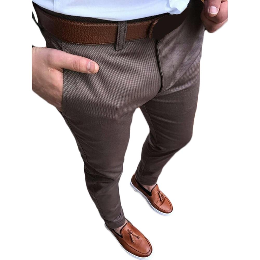 YJSFG HOUSE Brand Mens Work Pants Slim Fit Straight Smart Casual Formal Waist Mens Flat Front Dress Pants Business Long Pant ...