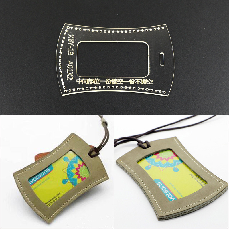 DIY Creative Card Package Template Clear Acrylic Durable Leather Pattern Leathercraft 7*11*1cm