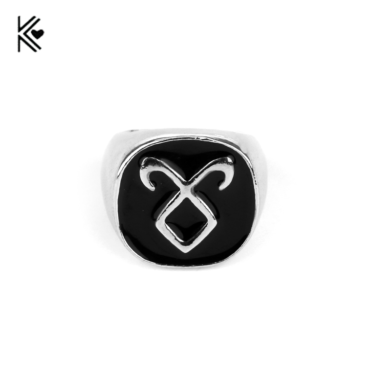 Movie The Mortal Instruments: City Of Bones rings Black Enamel Women Men Maxi Finger Rings Classic Silver Plated Cocktail Ring