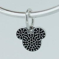 Authentic 925 Sterling Silver Sparkling Mickey Icon Pendant Black CZ Dangle Fit European Beads Charms Bracelets
