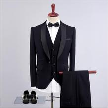 Classic Men's Clothing Men Suits for Wedding Grey Blue Black Notch Lapel One Button Costume Homme Mariage Terno Masculino 3 PCS цены