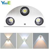 Home Fashion LED Wall Lamp 3W AC100 265V Modern Aluminum KTV Bar Corridor Decorate Color Half