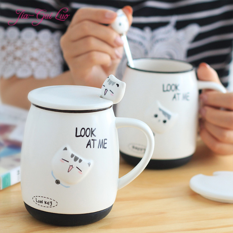 Jia-gui luo MUG Cute cartoon ceramic cup embossed pattern cat pattern Very cute gift girlfriend