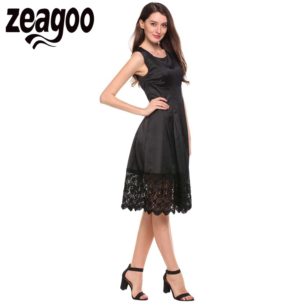 e5a0f32d557 Zeagoo Women Lace Dress O Neck Sleeveless Pleated Dress Brand Lady OL Party  Dress Knee Length Summer Elegant Vestidos XXL-in Dresses from Women s  Clothing ...