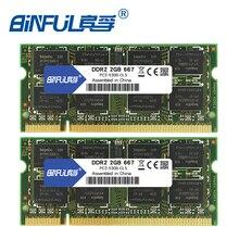 Binful DDR2 4 Гб(2x2 Гб) 667 МГц PC2-5300 800 МГц PC2-6400 Двухканальный для лэптоп ноутбук память memoria Ram