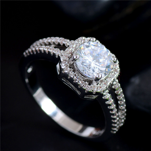MISANANRYNE silver Clear CZ Zirconia Fashion Jewelry Wedding Ring New Arrival Ro
