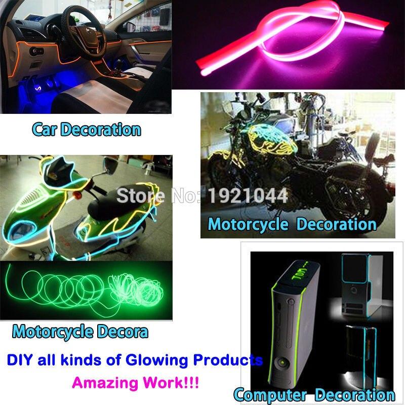 3 метра 2.3mm-юбка фиолетовый с 5 В usb-драйвер Гибкая EL Провода Glow неоновый LED Нитки неоновые трубки свет веревочки для автомобилей украшение пар...