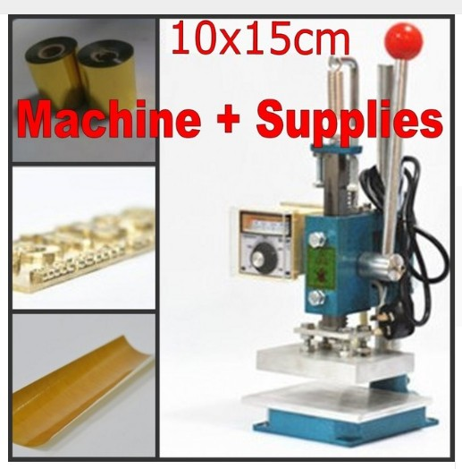 Hot foil stamping machine leather deboss machine 2 in 1 with foil holder (15x10cm) + Customized hot stamping die + Foil customized hot foil stamping brass plate customized debossing die cut debossing mould