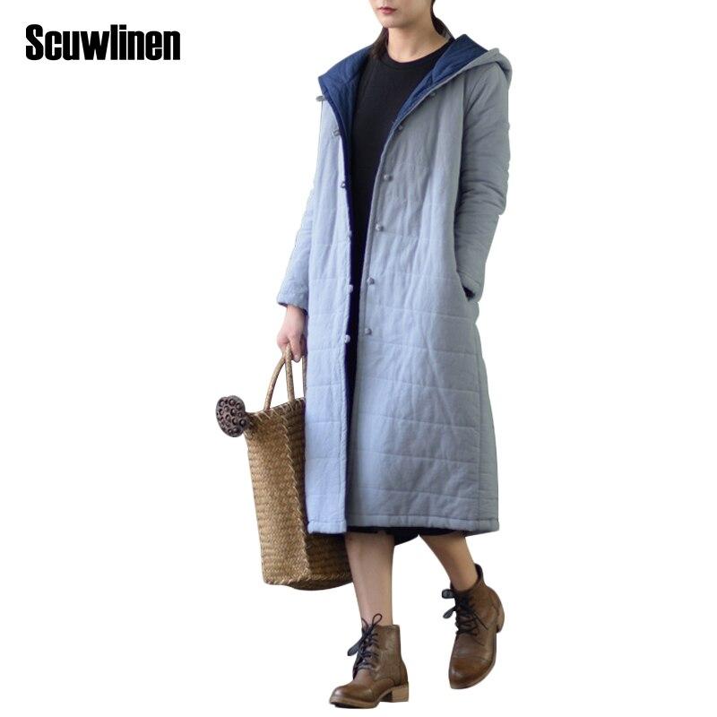 SCUWLINEN 2017 Winter Coat Women Solid Hooded Vintage Handmade Plate Buttons Closure Long Cotton Jackets Women Casual Parka S271