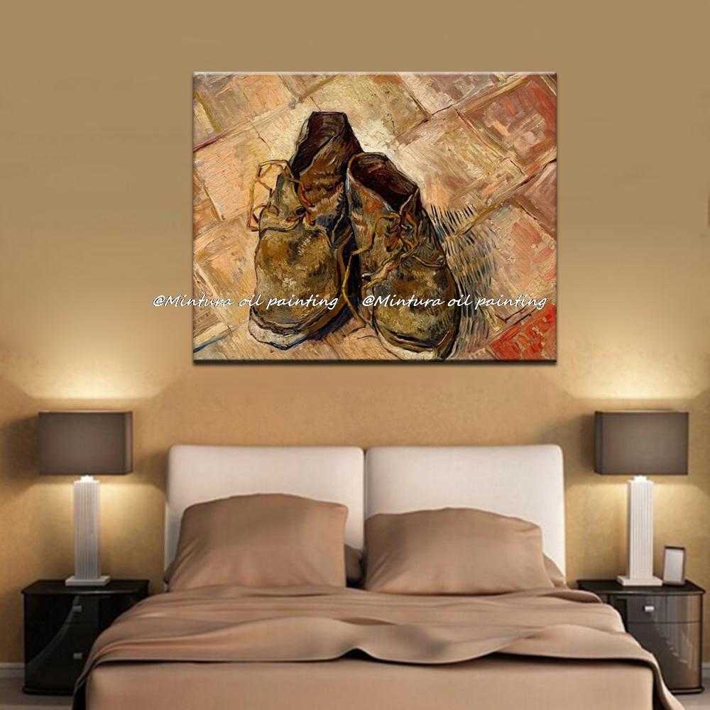 US $40.0 20% di SCONTO|Paio Di Scarpe Da Vincent Van Gogh 100% Fatto A Mano Pittura A Olio Della Riproduzione Su Tela di Canapa di Arte Della Parete