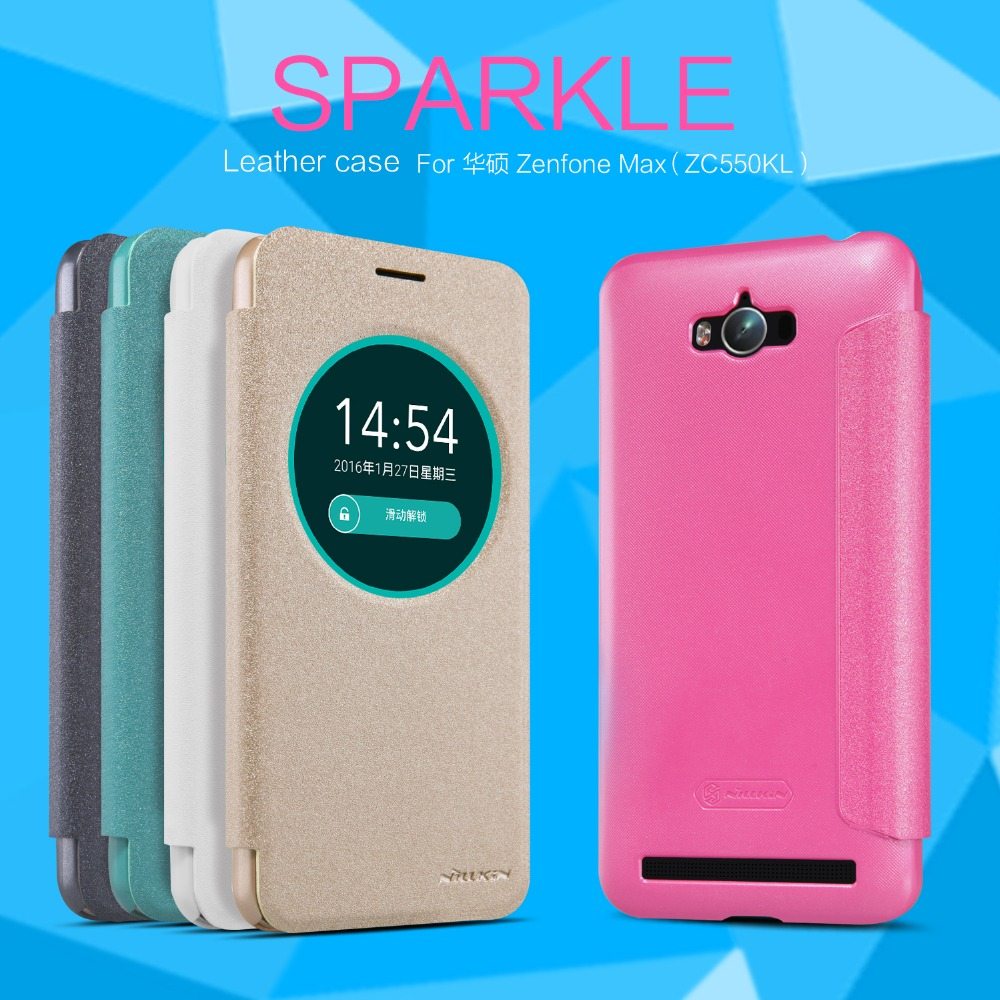 buy popular a9ce4 77e1a US $8.99 |for ASUS Zenfone Max ZC550KL Cover Nillkin Bling Cute Smart  Window Leather PC Frosted Cover Quick Circle on Aliexpress.com | Alibaba  Group