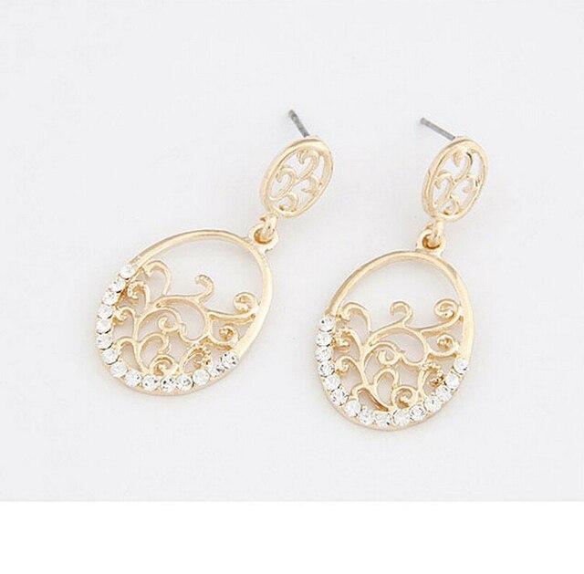 E66 Fashion Earrings Elegant Cutout Flower Vine Exquisite Accessories Formal Dress