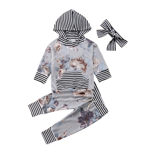 8986177a4297 Newborn Baby Girls Hooded Flower Tops Shirt Pants Striped Winter ...