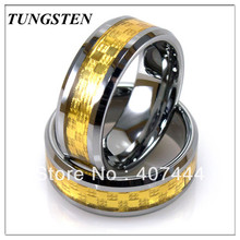 Wholesales Cheapest Price10 pieces /lot 8MM Tungsten Ring With Golden Metal Inlay Men's Ring Classic Wedding Ring(China)