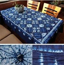 Japanese Bandhani Tie dye Unique Original Design Decorations Arts / Handmade Itajime Plaid Table Cloth Many Uses Wholesale
