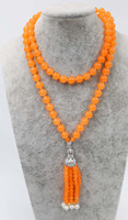 pearl and blue orange light blue color jade round 8mm leopard clasp necklace 35inch wholesale beads nature FPPJ woman 2017
