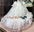Do bebê do Vintage menina meninos Lace branco / marfim primeira comunhão vestidos baptizado batismo vestido com capota
