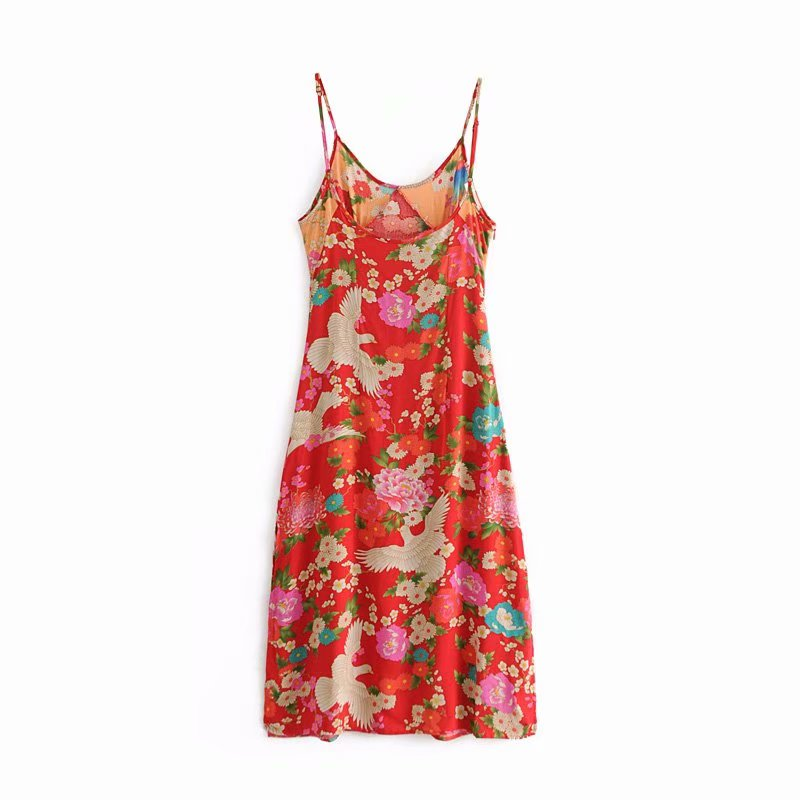 755037f1f4eb7 Boho Chic Summer Vintage Bird Floral Print Strap Midi Dress Women 2019  Fashion V Neck Sleeveless Beach Dresses Vestidos Mujer