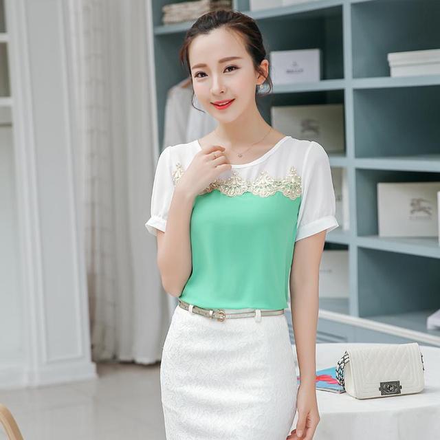 504e3ff4ff6 Korean Fashion Girls 2015 Summer Style Sweet Cute Slim Patchwork Chiffon  Short Sleeve Appliques Casual Plus size Shirts Blouses