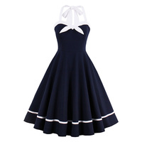Sexy Women Vintage Dress Nautical Style Bowknot Sexy Retro Dresses Dark Blue Strap Party Dress Backless