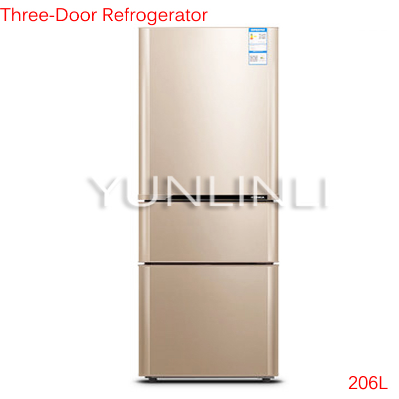 206L Three-Door Refrigerator Household Cold Storage & Freezing Refrigerator Large Capacity Vertical Refrigerator BCD-206GX3S itech lk 206l коричневый