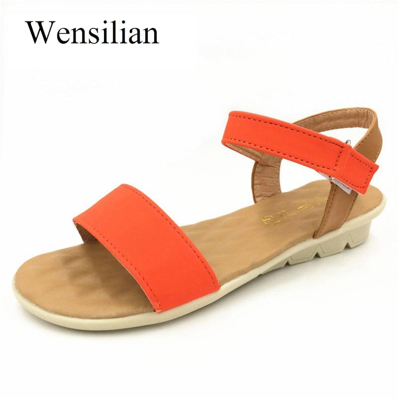 Fashion Designer Summer Sandals Women Beach Shoes Peep Toe Flats Hook Loop Wedge Shoes Anti Slip Ladies Sandals sandalias mujer summer fashion sandals women shoes non slip hook