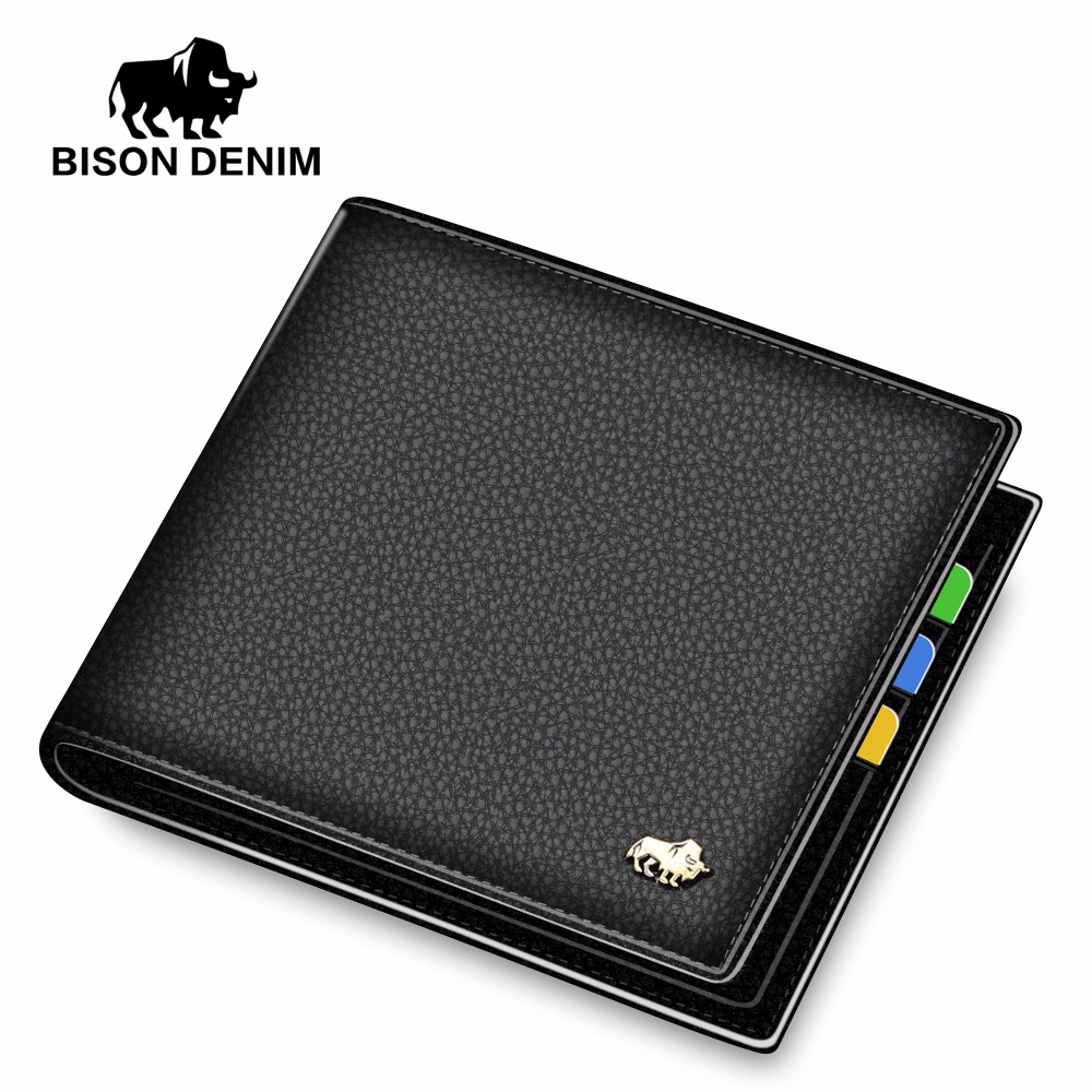 BISON DENIM Brand Men Wallet Genuine Leather Purse Credit Card Holder Credit Card Wallet Men's Short Wallet Free Shipping hot sale 2015 harrms famous brand men s leather wallet with credit card holder in dollar price and free shipping