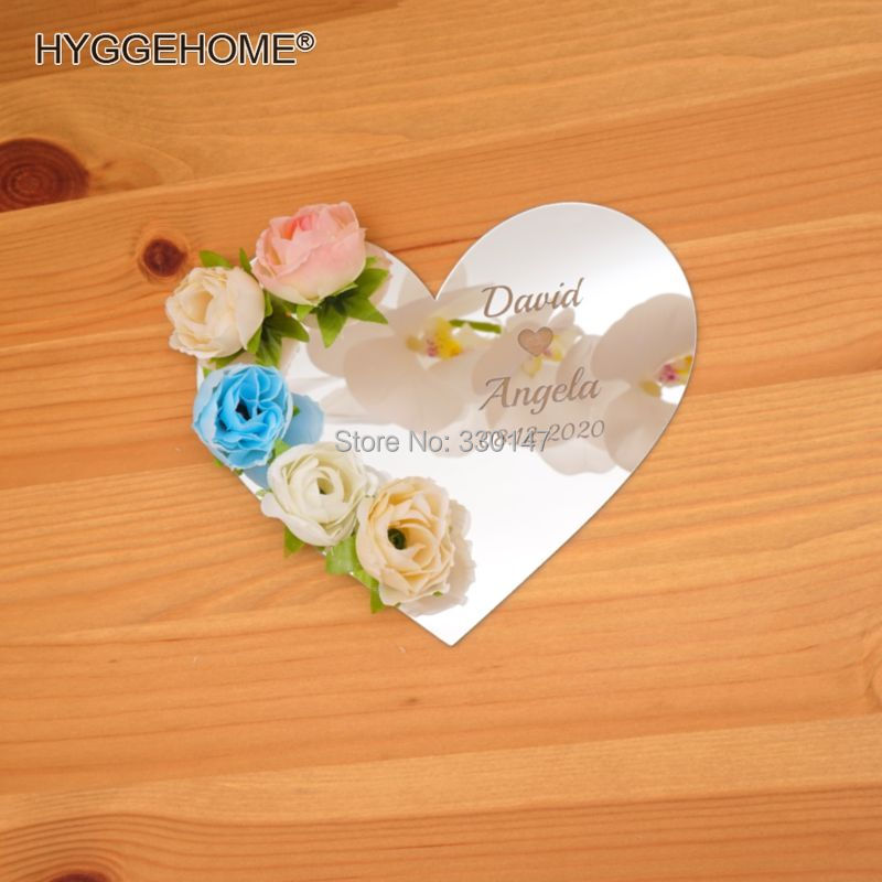 US $18 43 36% OFF|Personalized Wedding Heart Mirror Tray Custom  Verlobungstablett Acrylic Plate Hanging Indication Signs Party Decor  Favors-in Party