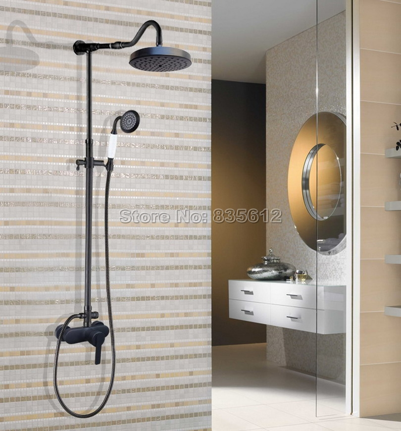 Rain Shower Faucet Set with Handheld Shower Head Black Oil Rubbed Bronze Bathroom Wall Mounted Single Handle Mixer Tap Whg656