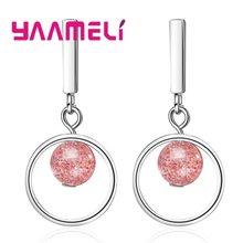 Женские серьги из серебра 925 пробы с розовым камнем