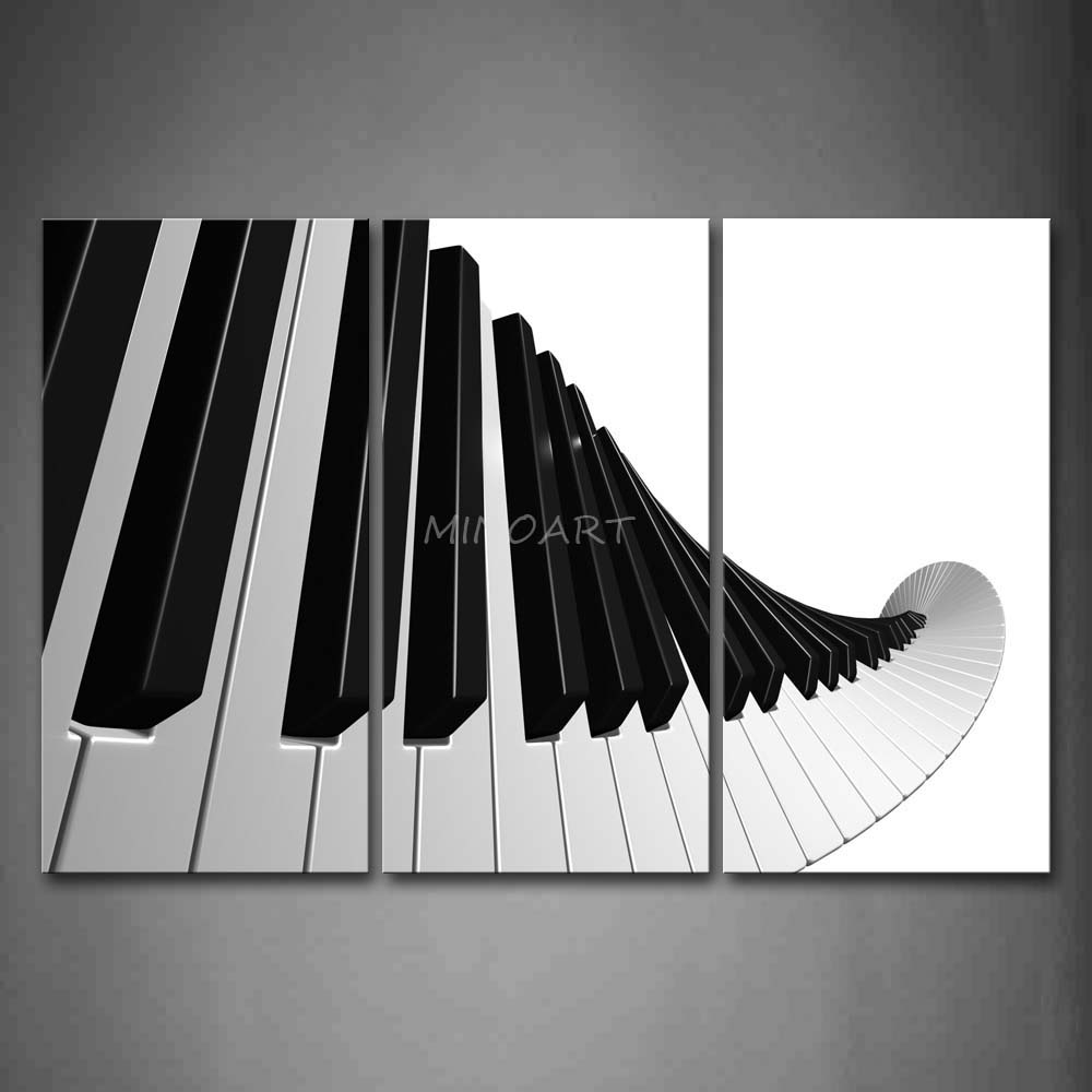 3 Piece Wall Art Painting Artistic Keyboard Of Piano In White And ...