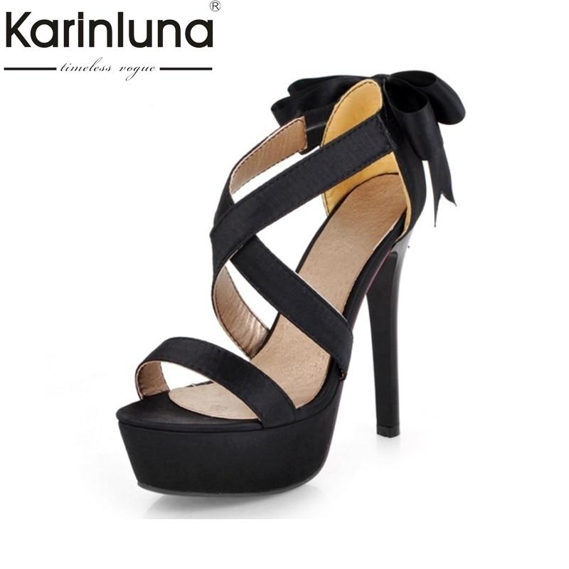 цена на KARINLUNA Big Size 34-43 Platform Sweet Bowtie Women Shoes Princess Style Thin High Heels Dancing Party Sandals Riband Purple