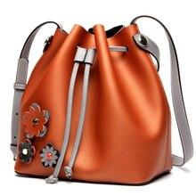 ROWLING 2017 women s bag SET new fashion bucket 100 genuine leather women s handbag lady